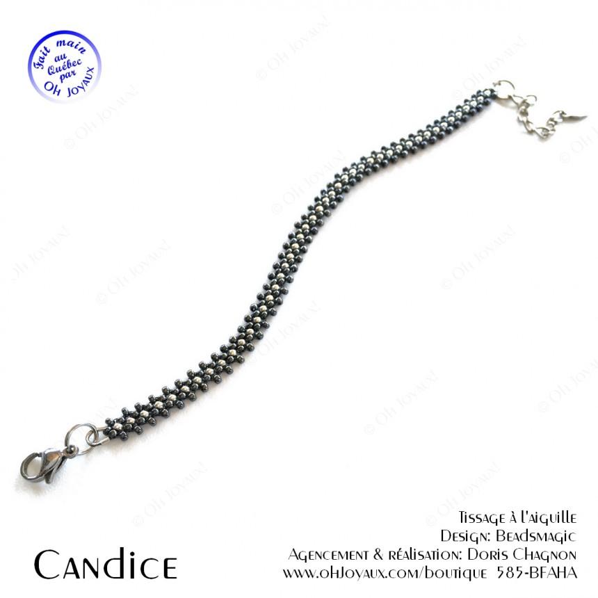 Bracelet Candice de couleur hématite et argenté '