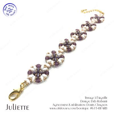 Bracelet Juliette de couleur blanc, améthyste et doré