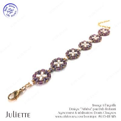 Bracelet Juliette de couleur améthyste, blanc et doré