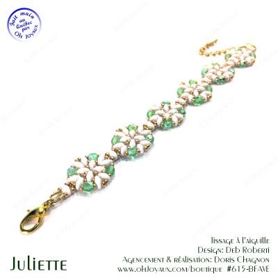 Bracelet Juliette de couleur péridot, blanc et doré