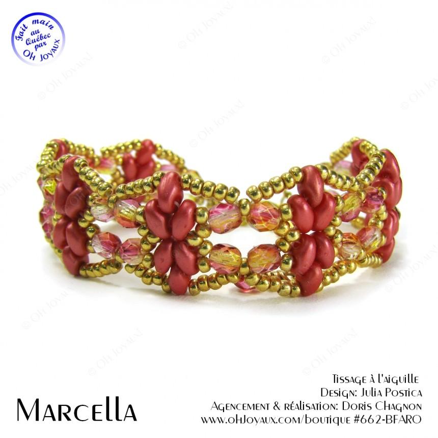 Bracelet Marcella en rouge corail et or
