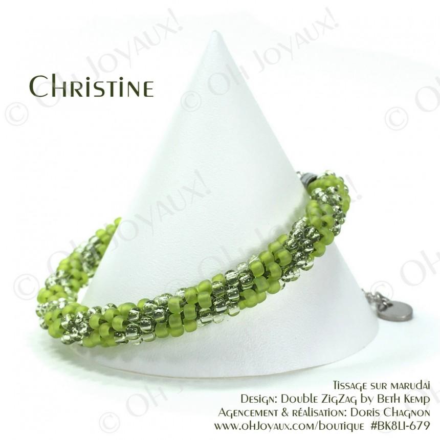 Bracelet Christine en 2 tons de vert lime