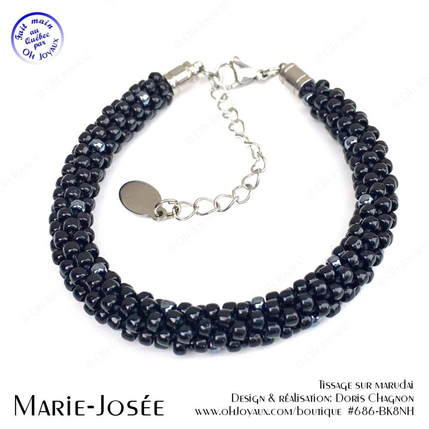 Bracelet Marie-Josée en noir et hématite