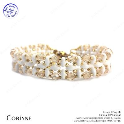 Bracelet Corinne en blanc et doré