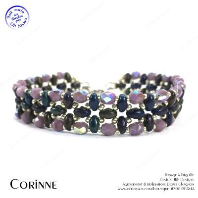 Bracelet Corinne en prune mûre et argenté