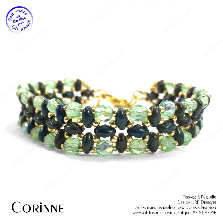 Bracelet Corinne en vert irlandais et doré