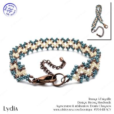 Bracelet Lydia de couleur écume de mer, crème et cuivrée