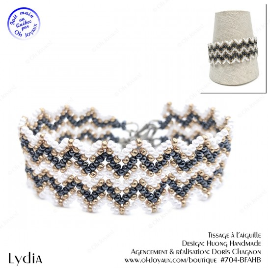 Bracelet Lydia de couleur hématite, blanc et champagne