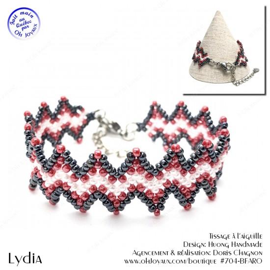 Bracelet Lydia de couleur hématite, rouge et blanc