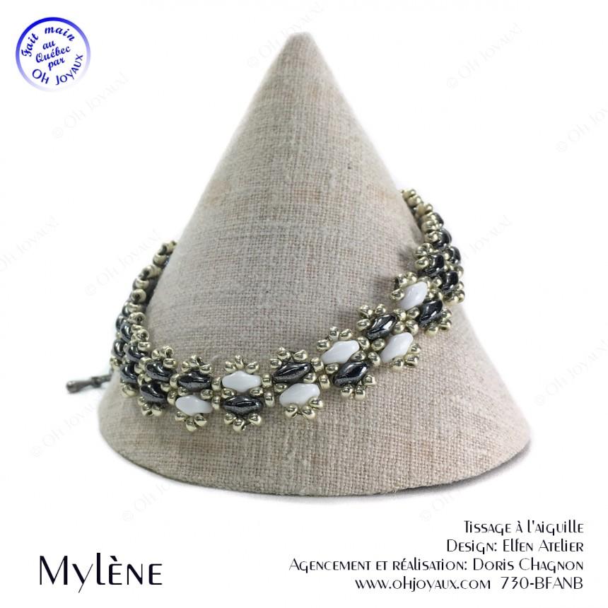 Bracelet Mylène en noir, blanc et argent