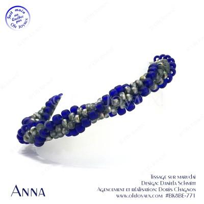 Bracelet Anna en bleu cobalt et gris vitrail