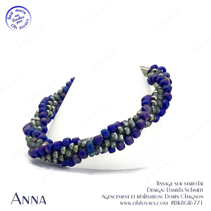 Bracelet Anna en bleu cobalt aurore boréale et gris vitrail