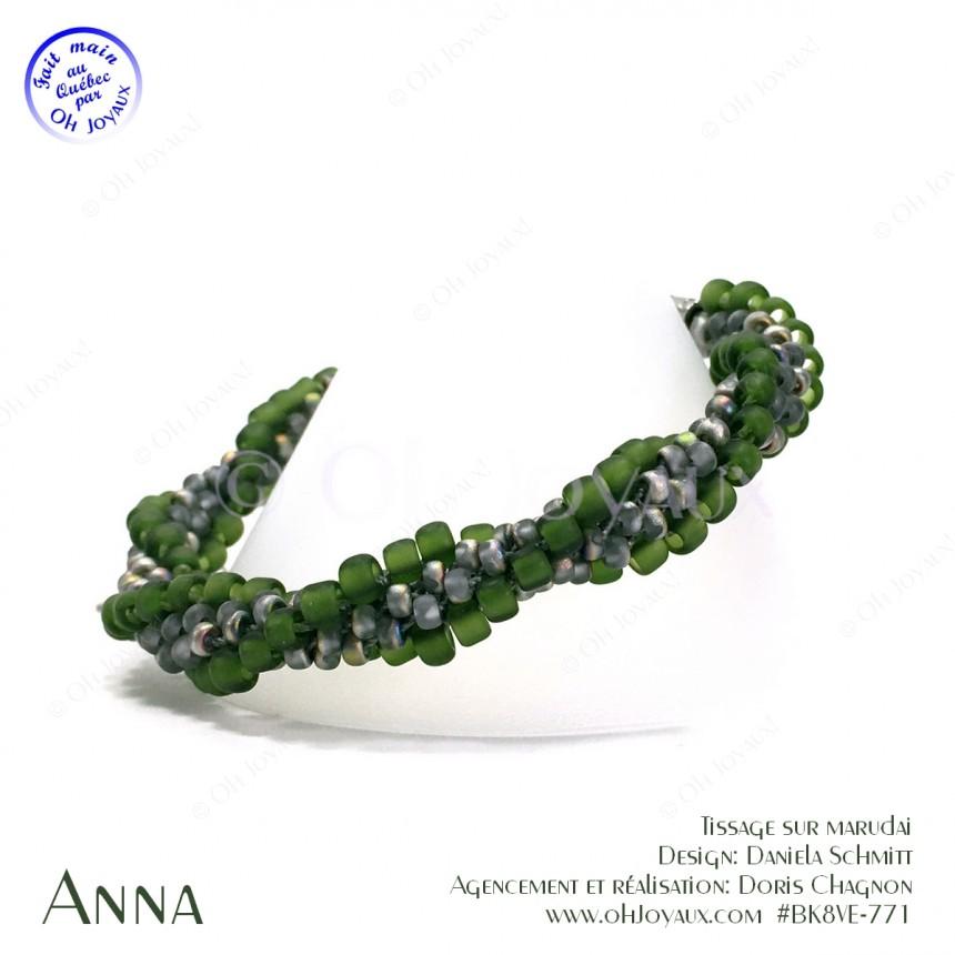 Bracelet Anna en vert sarcelle et gris vitrail
