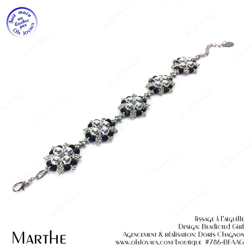 Bracelet Marthe en noir et argenté