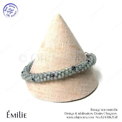Bracelet Émilie en gris et noir