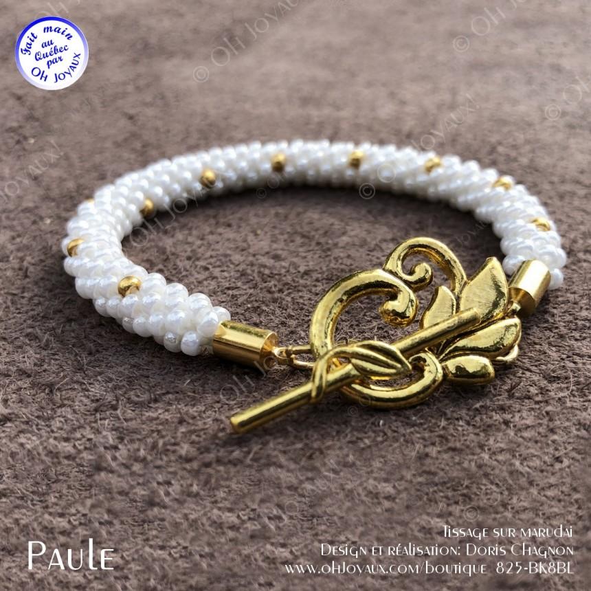 Bracelet Paule en blanc et doré