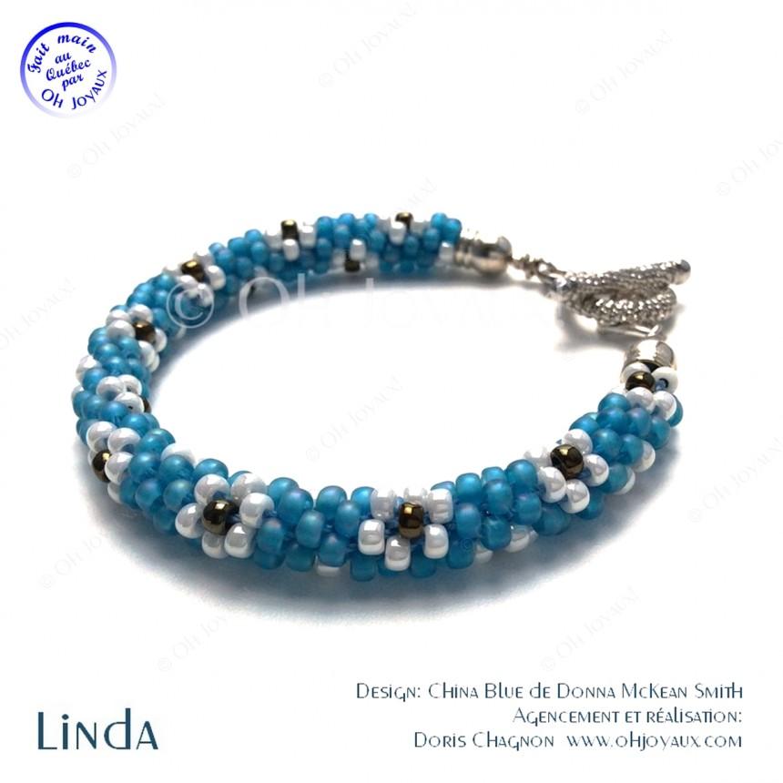 Bracelet Linda en bleu et blanc