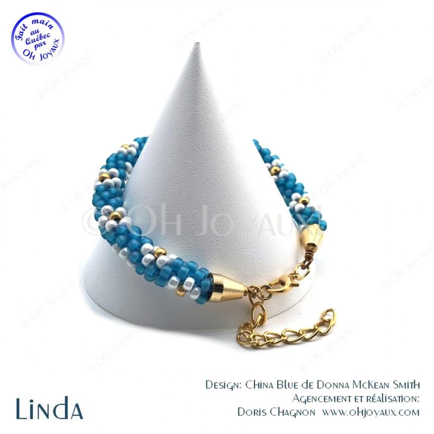 Bracelet Linda en bleu et doré