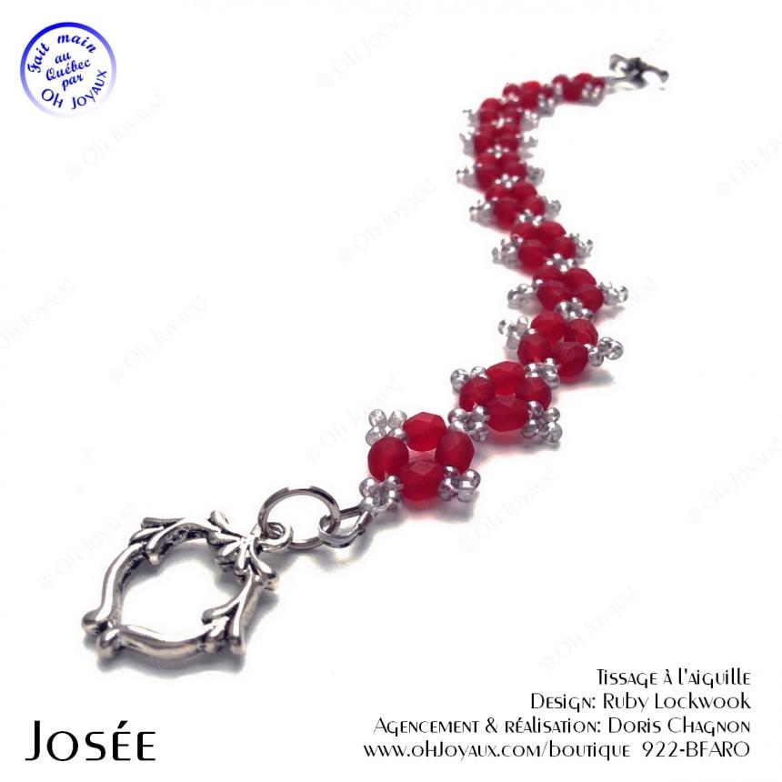 Bracelet Josée rubis et argenté