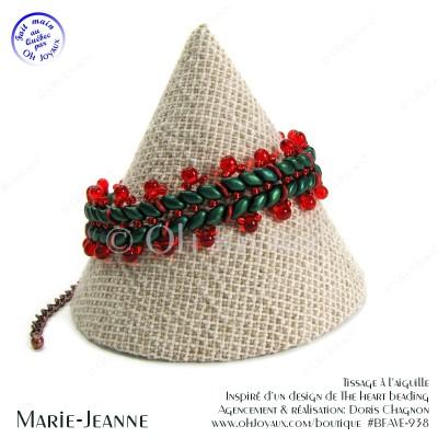 Bracelet Marie-Jeanne en vert forêt et rouge