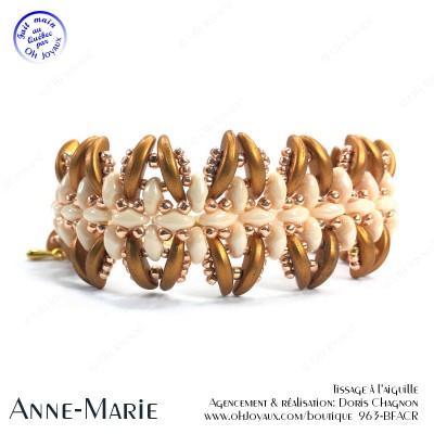 Bracelet Anne-Marie dans les tons de crème, champagne et or antique