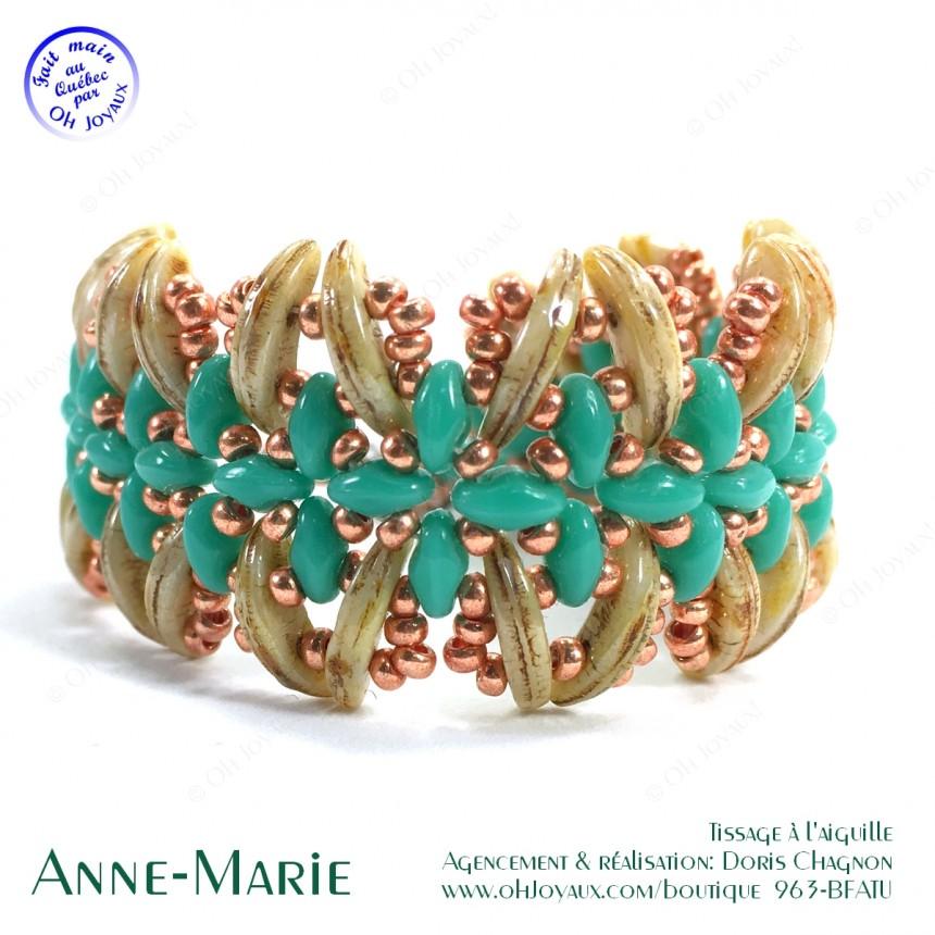 Bracelet Anne-Marie dans les tons de turquoise et crème brulée