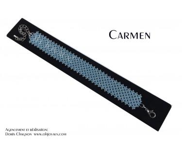 """Bracelet """"Carmen"""" en bleu et  gris argenté"""