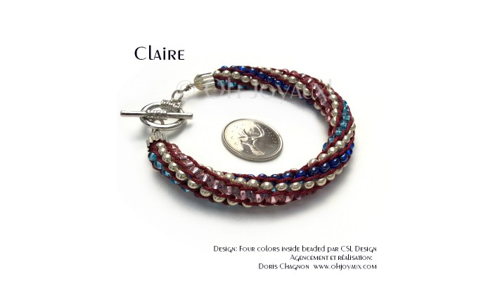 "Bracelet ""Claire"" - Kumihimo billes multicolores"