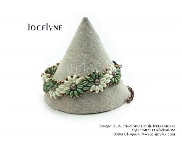 """Bracelet """"Jocelyne"""" en olive et crème"""
