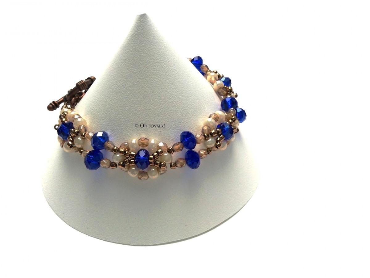 """Bracelet """"Facettes de vie"""" crème et bleu"""
