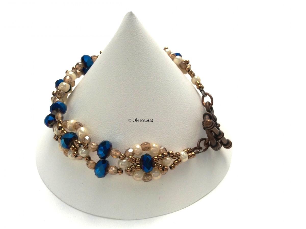 """Bracelet """"Facettes de vie"""" cobalt et crème"""