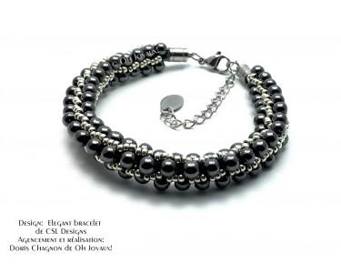 """Bracelet """"Élégant"""" en noir et argent"""