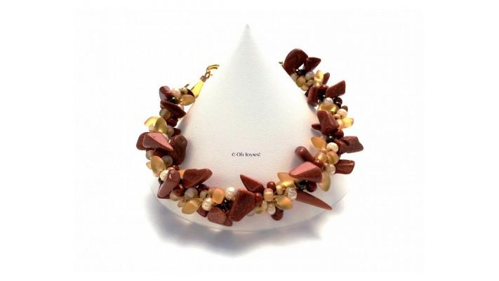 Bracelet Kumihimo 7 teintes de l'or au brun