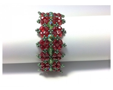 "Bracelet ""Double Poinsettia"" rouge et vert"