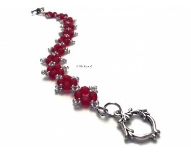 """Bracelet """"Poinsettia"""" rubis et argenté"""