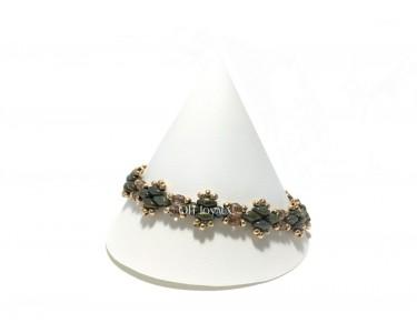 """Bracelet """"Côte à côte"""" vert et or"""