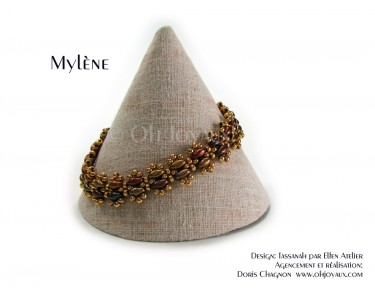 "Bracelet ""Mylène"" en or et 4  ton de bronze"
