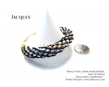 """Bracelet """"Jacques"""" - Kumihimo cuir et billes multicolores"""