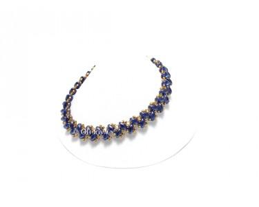 """Bracelet """"Petits pas de deux"""" bleu et or"""