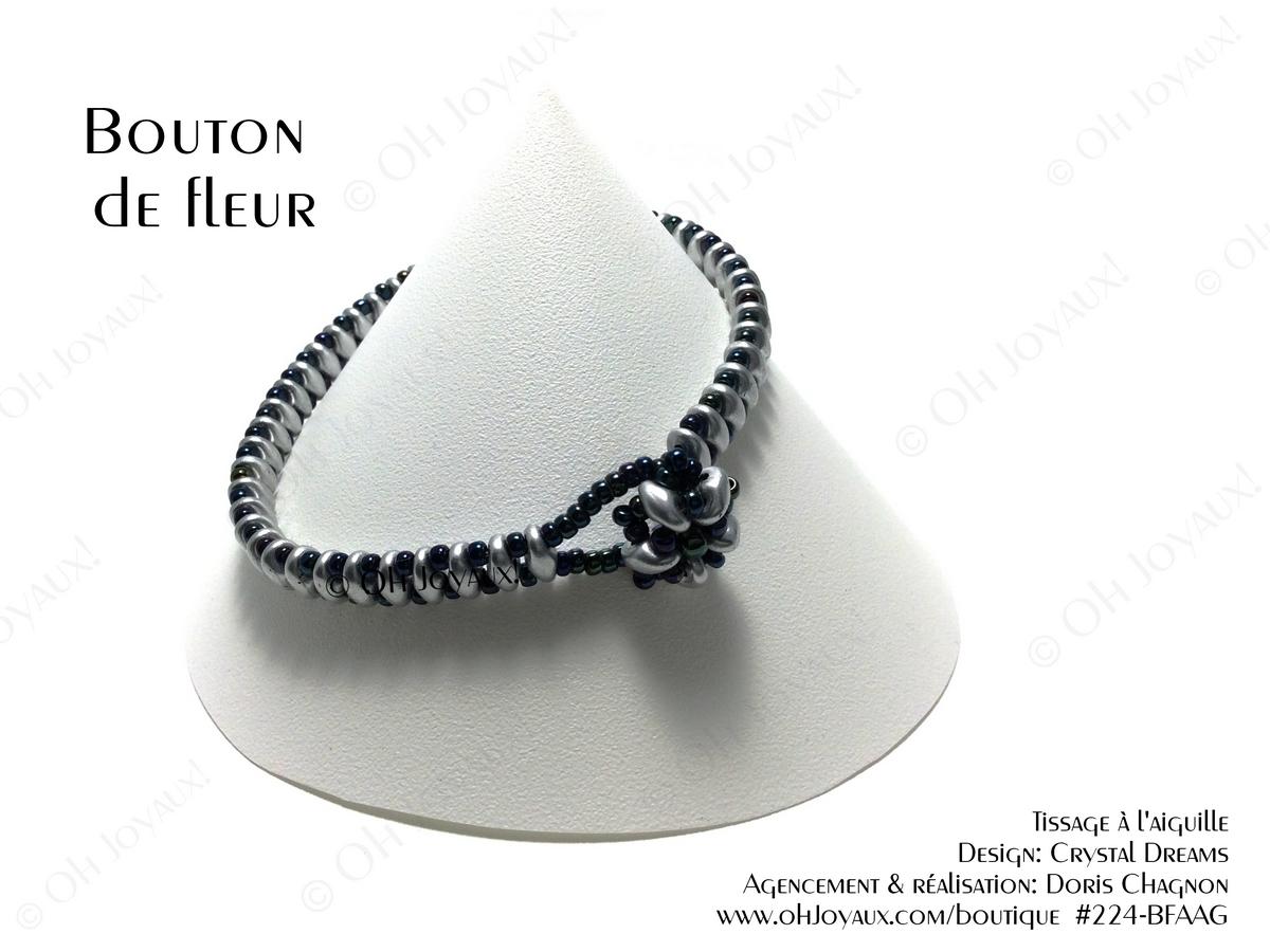 """Bracelet """"Bouton de fleur argent"""""""