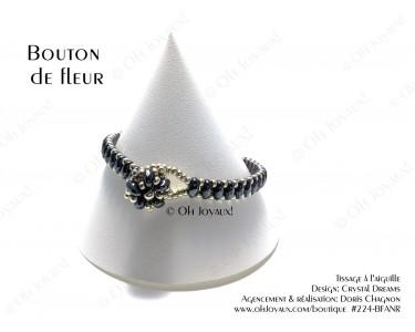 """Bracelet """"Bouton de fleur"""" noir et argent"""