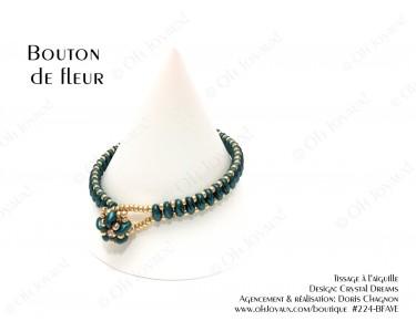 """Bracelet """"Bouton de fleur"""" vert et or"""