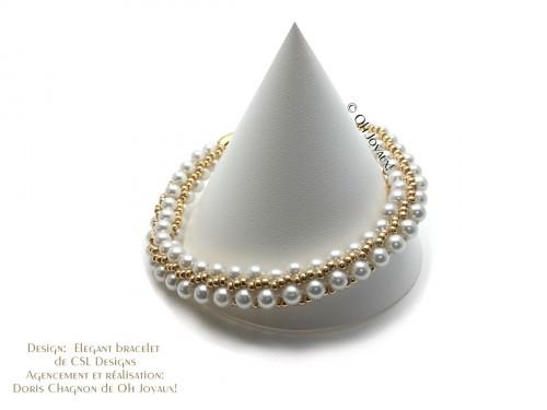 """Bracelet """"Élégant"""" en blanc et argent"""