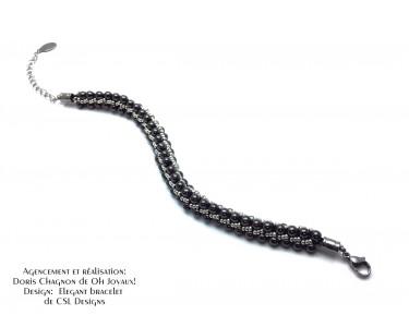 """Bracelet """"Élégant"""" en noir et gris"""