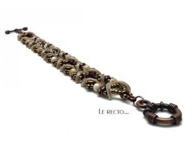 "Bracelet ""Sensations"" grenat et bronze"