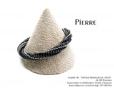 """Bracelet """"Pierre"""" noir et gris"""