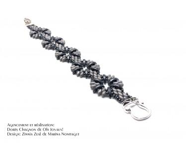 """Bracelet """"L'heure bleue"""" en noir et gris"""