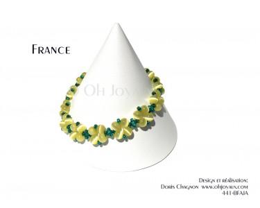 """Bracelet """"France"""" en jaune et vert"""