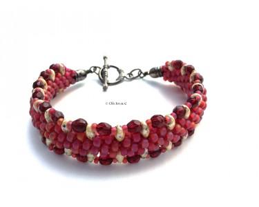 """Bracelet Kumihimo """"Sur la route"""" rubis"""