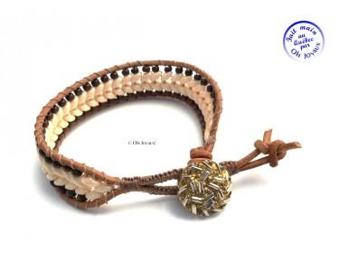 Bracelet de cuir crème au chocolat